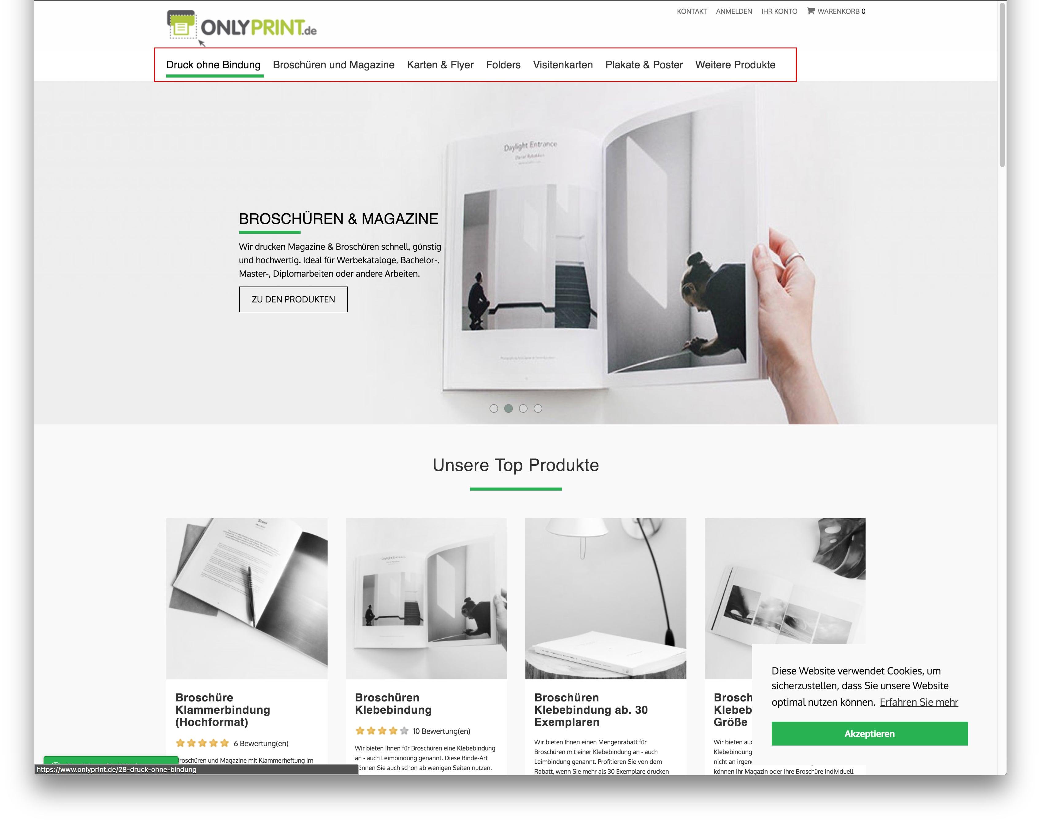 Onlyprint.de Startseite - Markierung zeigt Produktkategorien im Menü