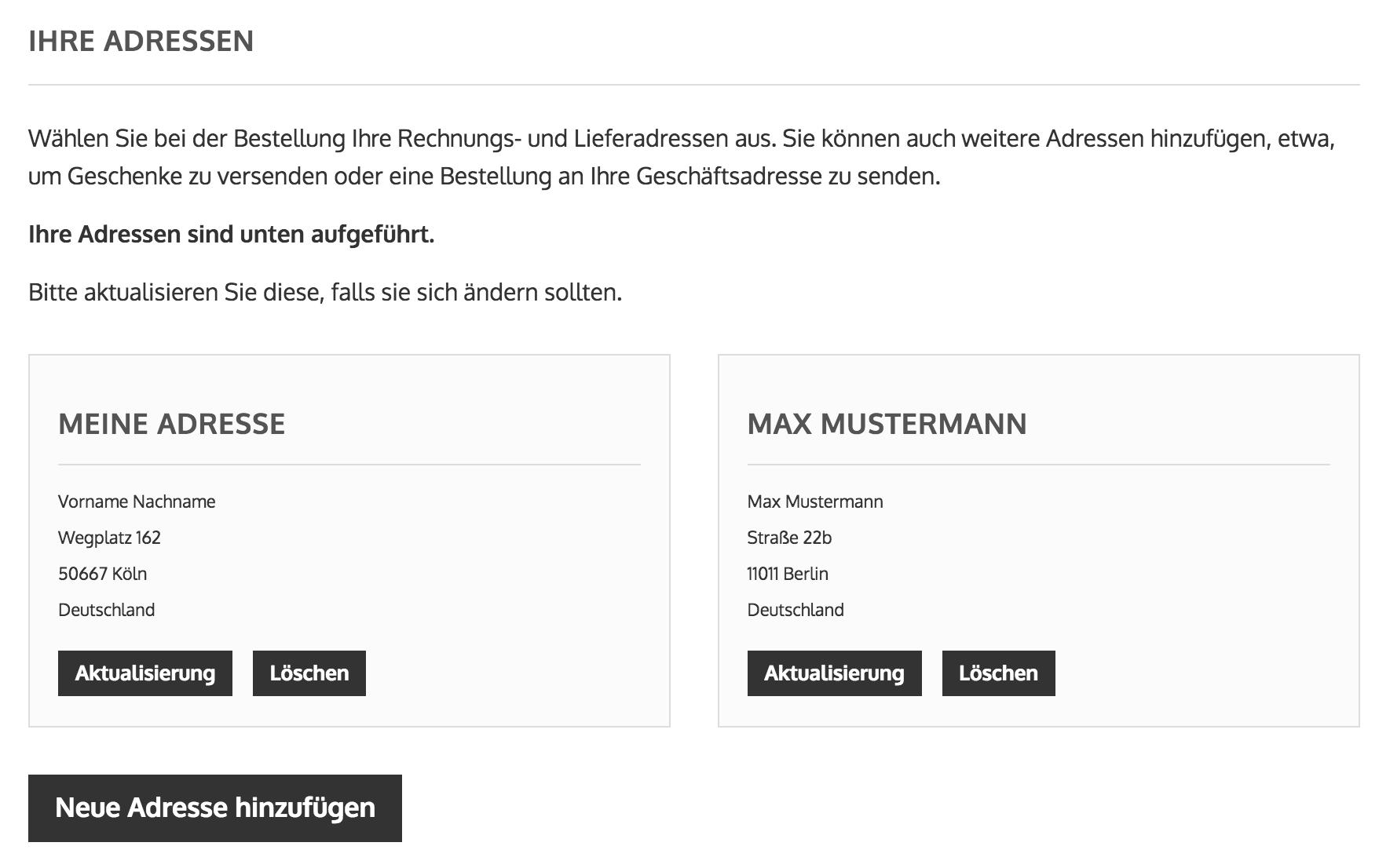 Onlyprint - Übersicht der Adressen Verwaltung